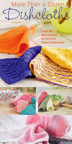 More Than a Dozen Dishcloths Knitting Patterns 16 knitting patterns for dish cloths to practice your knit and purl stitches. Each pattern can be made in just a couple of hours. Some are designed to showcase self-striping and multi-color yarn. Well suited for beginning-level knitters. Designed by Lisa Carnahan Beginner Knitting Patterns, Dishcloth Knitting Patterns, Knitting For Beginners, Free Knitting, Knitting Projects, Aran Weight Yarn, Purl Stitch, Butterfly Design, Yarn Colors