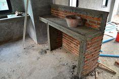 บ้านโครงการสไตล์ Loft ตอน 26. เคาเตอร์ครัว / เคาเตอร์ห้องน้ำ ก่อเสร็จแล้ว ( 27 มิ.ย. 56)