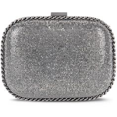 Stella McCartney Falabella Crystal Stones Clutch Bag (121,400 MKD) ❤ liked on Polyvore featuring bags, handbags, clutches, dark grey, stella mccartney handbags, metallic handbags, crystal handbag, strap purse and metallic clutches