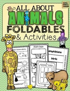 All About Animals Foldables and Activities. Over 15 different styles: multiple variations covering animal groups, classifications, adaptations, food chains, and more. Kindergarten Science, Teaching Science, Science Activities, Classroom Activities, Life Science, Teaching Ideas, Preschool, Animal Coverings, Science Anchor Charts