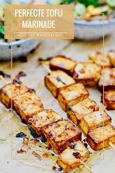 Tofu marinade The best marinade for tofu is made in no time! - The perfect marinade for tofu – Find the recipe on www. Tempeh, Clean Eating Diet, Clean Eating Recipes, Cooking Recipes, Veggie Recipes, Vegetarian Recipes, Healthy Recipes, Veggie Bbq, Marinade Tofu