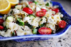 Pasta salad with tomatoes, zucchini, and feta. Via The Pioneer Woman.   Try this with grilled chicken strips.