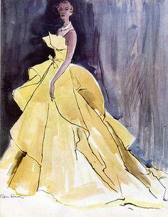 Christian Dior 1949 Evening Gown, Fashion Illustration, Pierre Simon
