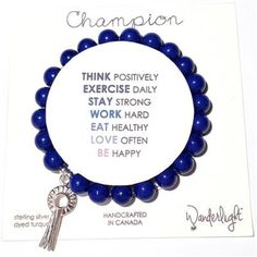 """Wanderlightâ""""¢ Champion - Electric Blue Dyed Turquoise w. Equestrian Style, Electric Blue, Silver Charms, Turquoise, Sterling Silver, Champion, My Style, Bracelets, Jewelry"""