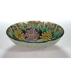Floral Glass Bowl Vessel Bathroom Sink from:  Overstock.com $112.99 today March 4, 2015