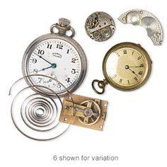 Watch component mix, mixed metal, 26x20mm-51x47mm parts. Sold per pkg of 3 pieces.