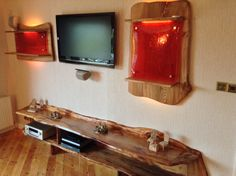 Live edge. Scottish Elm.  Media unit with Dark Amber resin panels.