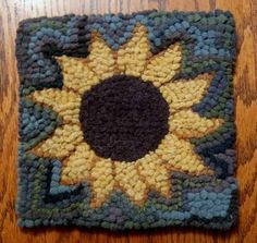 Beginner Sunflower Primitive Rug Hooking Kit Includes Hook Cut Wool Strips