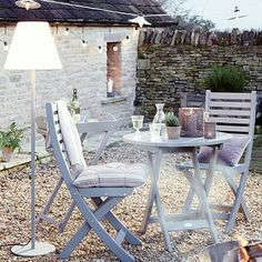 Get the rustic country look with this neat set with the addition of a fantastic outdoor lamp Provence Garden Set Outdoor Rooms, Outdoor Dining, Outdoor Gardens, Outdoor Decor, Outdoor Chairs, Grey Garden Furniture, Outdoor Furniture Sets, Porches, Round Table And Chairs