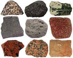 Igneous rocks: left to right: gabbro, andesite, pegmatite, basalt, pumice, porphyry, obsidian, granite, and tuff.