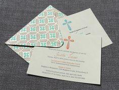Boy Baptism Invitation with handmade envelope