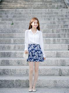 Korean Daily Fashion | Official Korean Fashion | White long sleeve blouse | Blue flower printed skirt | White high heel shoes | White shoulder bag