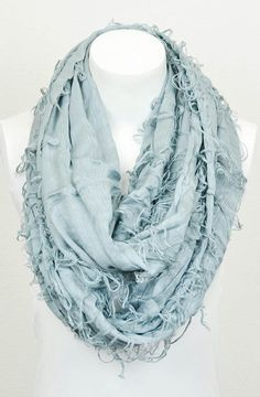 Slate Shredded Infinity Scarf...love the color obsessed with the shreds!! perfect for the winter and spring
