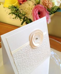 50 Handmade Wedding Invitation Cards and Envelopes DIY Printing - Cream Ivory