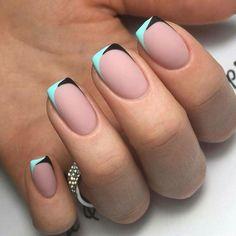 Цветной элегантный френч на короткие ногти
