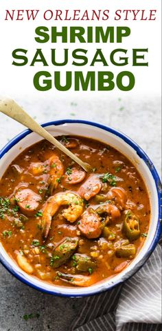 New Orleans style Shrimp Sausage Gumbo - This approachable New Orleans Shrimp sausage Gumbo recipe is broken down into steps so it& ea - Creole Recipes, Cajun Recipes, Seafood Recipes, Dinner Recipes, Cooking Recipes, Healthy Recipes, Haitian Recipes, Louisiana Recipes, Shrimp Gumbo Recipes