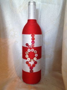 Joy Hand Wrapped Yarn Bottle Red & White Christmas JOY Glass Bottle with Buttons