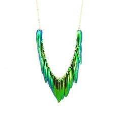 Beetle Wing Necklace Gold Plate