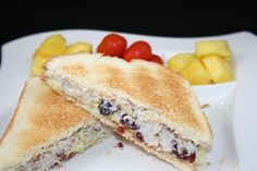 Chicken salad. Super easy! cooked chicken, mayo and walnuts. I love cranberries in mine too :)