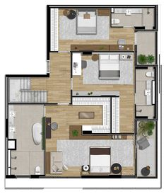 House Layout Plans, Small House Plans, House Floor Plans, Layouts Casa, House Layouts, Two Bedroom Floor Plan, Model House Plan, Apartment Floor Plans, House Map