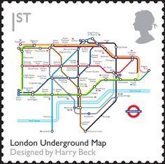 UK Stamp: London Underground Map Designed by Harry Beck