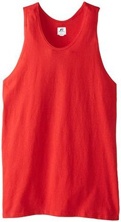 Russell Athletic Men's Basic Cotton Tank Top, True Red, XXX-Large - http://www.exercisejoy.com/russell-athletic-mens-basic-cotton-tank-top-true-red-xxx-large/athletic-clothing/