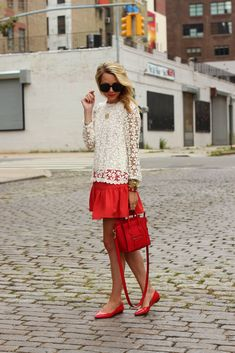 Perfection!  http://www.atlantic-pacific.blogspot.com/  #effortless #casual #crochet #red #skirt #outfit #accents #accessories #crossbody #bag #jewelry #chic #shoes #style #fashion