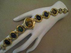 Large Genuine Gemstones Gem Time Reverseable Watch Bracelet Watchband MOP Face  #GemTimeQuatzWatch #GenuineGemstoneBraceletWatchband