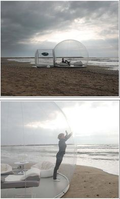 Casa Bubbles designed to withstand heat and cold, made of recyclable material. When deflated & packed, a 13' bubble in its bag will fit in the back seat & weighs only 50kg.  Camping is a different experience in your own bed, with animals coming right up to see what it is. Stars, planes & satellites crossing the sky.