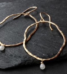 Raw Diamond Gold Hoops // Alexis Russell