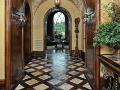 Tuscan design – Mediterranean Home Decor Wood Tile Floors, Wood Floor, Hallway Flooring, Marble Floor, Marble Tiles, Tiling, Tuscan Design, Tuscan Style, Tuscan House