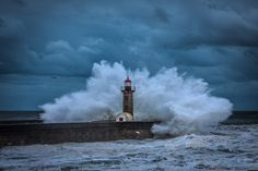 Strong Nature - lighthouse Foz do Douro in O´Porto - Portugal