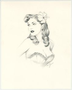 Pencil Portrait Mastery - Maly Siri - Pin-up Art Illustration originale intitulée Lovely Diana - Discover The Secrets Of Drawing Realistic Pencil Portraits