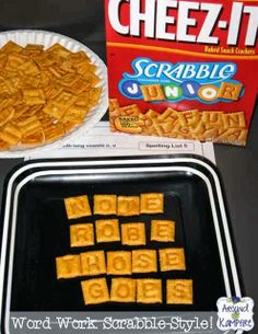 Scrabble tile Cheez-Its for word work!
