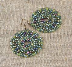 Green with Hints of Purple Circular Earrings
