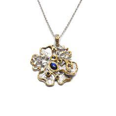 Anhänger mit Spectrolit Pendant Necklace, Jewellery, Sapphire, Gold Paint, Beads, Stones, Blue, Jewels, Schmuck
