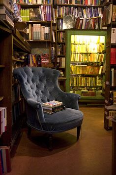 A perfect library - lots of books, lots of light, and a big, comfortable chair to read.