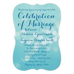 "Modern Typography Aqua Blue Wedding Invitations 5"" X 7"" Invitation Card"