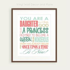 Daughter of God Princess Print by VinylWallDecorandMor on Etsy, $15.00 Girls Bathroom
