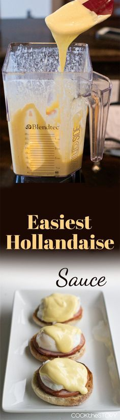 Easiest Hollandaise Sauce: It's made in the blender. No whisking or double boilers required Easiest Hollandaise Sauce: It's made in the blender. No whisking or double boilers required Molho Hollandaise, Recipe For Hollandaise Sauce, Blender Hollandaise, Sauce Recipes, Cooking Recipes, Cut Recipe, Keto Recipes, Salsa Dulce, Gastronomia