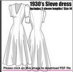 1930s 1940s longline dress. Free .pdf pattern.