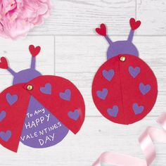 This cute Love Bug card is fun and easy to make and is perfect to give to a loved one. Toddler Valentine Crafts, Valentines For Kids, Homemade Valentines, Toddler Crafts, Ladybug Crafts, Bee Crafts, Valentine's Cards For Kids, Craft Free, Crafts For Kids To Make