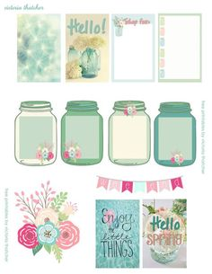 Free Spring printables for planners, happy mail or flipbooks. Cute mason jars and flower stickers. Perfect for Happy Planner, Erin Condren or Personal size Kate Spade, Filofax and Kikki K Mais To Do Planner, Free Planner, Planner Pages, Happy Planner, Planner Ideas, 2017 Planner, Victoria Thatcher, Printable Planner Stickers, Free Printables
