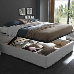 Iorca Easy Up Chic Bed - lifts up providing a storage compartment. It comes & Large Bed Mechanism (Pair) | Pinterest | Large beds Bed storage and ...