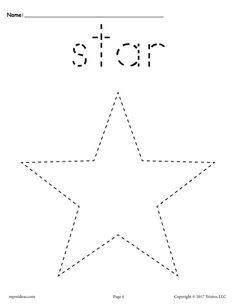 Free Printable Star Tracing Worksheet