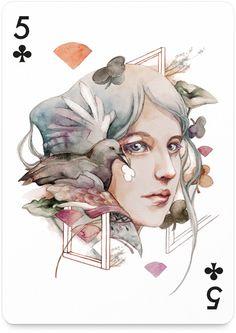 5 of Clubs by Valerie Ann Chua - http://playingarts.com/cards/valerie-ann-chua/