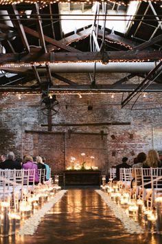 Candles and flower petals lining the aisle...