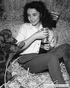 Elizabeth Taylor and dachshund
