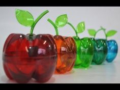 Como fazer uma maçã de garrafa pet e pintar elas as deixando um colorido transparente