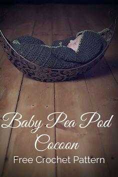 Free crochet pattern - a newborn baby pea pod cocoon. By Posh Patterns.
